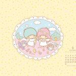 受保護的內容: Little Twin Stars Wallpaper 2014 三月桌布 日本官方月曆